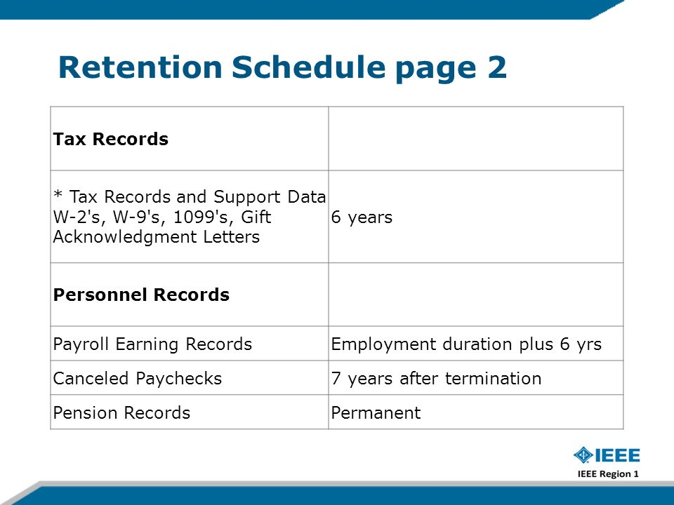 Retention Schedule page 2 Tax Records * Tax Records and Support Data W-2 s, W-9 s, 1099 s, Gift Acknowledgment Letters 6 years Personnel Records Payroll Earning RecordsEmployment duration plus 6 yrs Canceled Paychecks7 years after termination Pension RecordsPermanent