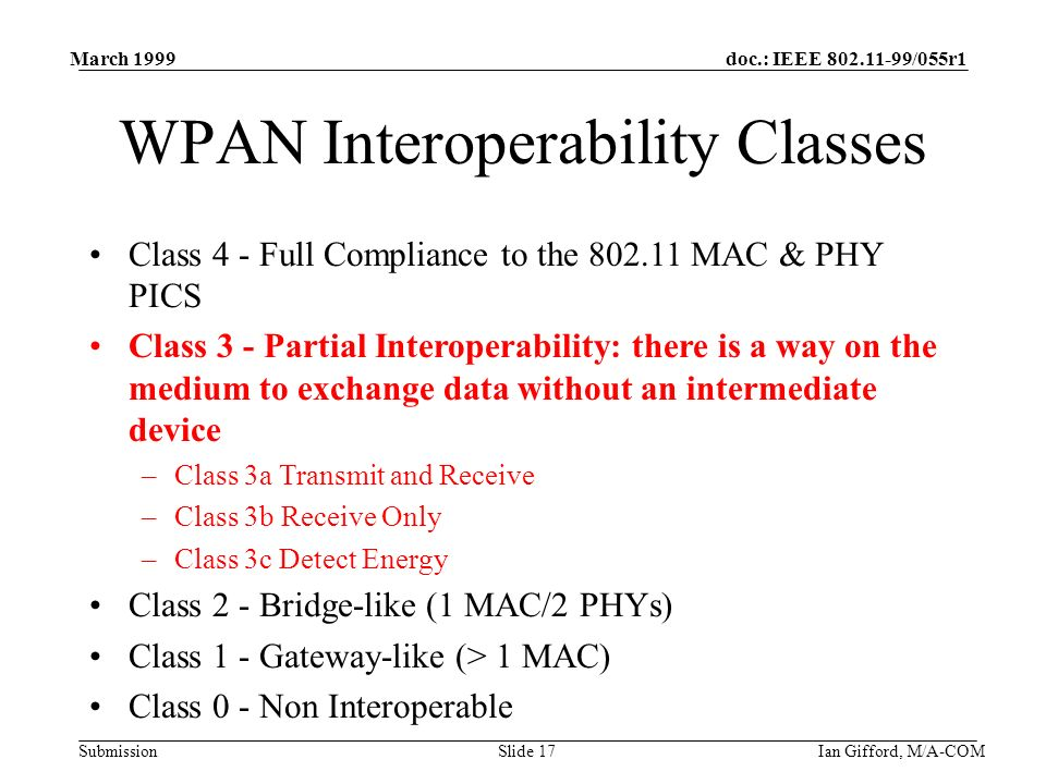 doc.: IEEE 802.11-99/055r1 Submission March 1999 Ian Gifford, M/A-COMSlide 17 WPAN Interoperability Classes Class 4 - Full Compliance to the 802.11 MAC & PHY PICS Class 3 - Partial Interoperability: there is a way on the medium to exchange data without an intermediate device –Class 3a Transmit and Receive –Class 3b Receive Only –Class 3c Detect Energy Class 2 - Bridge-like (1 MAC/2 PHYs) Class 1 - Gateway-like (> 1 MAC) Class 0 - Non Interoperable