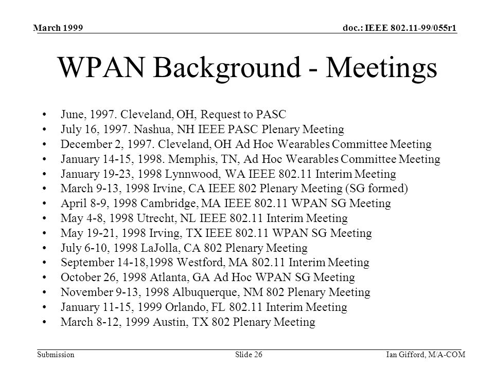 doc.: IEEE 802.11-99/055r1 Submission March 1999 Ian Gifford, M/A-COMSlide 26 WPAN Background - Meetings June, 1997.