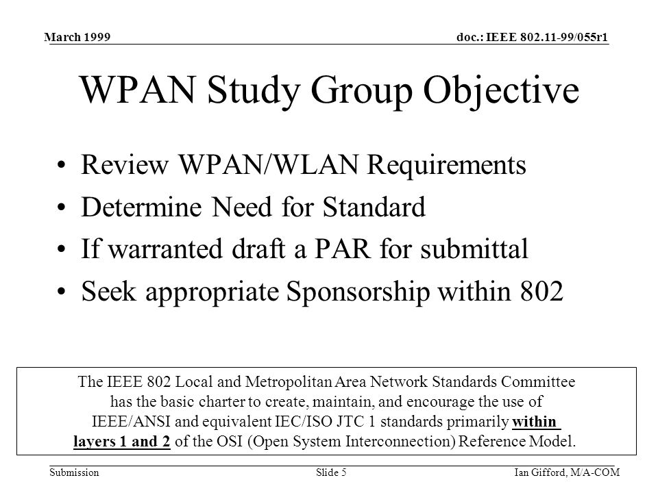 doc.: IEEE 802.11-99/055r1 Submission March 1999 Ian Gifford, M/A-COMSlide 5 WPAN Study Group Objective Review WPAN/WLAN Requirements Determine Need for Standard If warranted draft a PAR for submittal Seek appropriate Sponsorship within 802 The IEEE 802 Local and Metropolitan Area Network Standards Committee has the basic charter to create, maintain, and encourage the use of IEEE/ANSI and equivalent IEC/ISO JTC 1 standards primarily within layers 1 and 2 of the OSI (Open System Interconnection) Reference Model.
