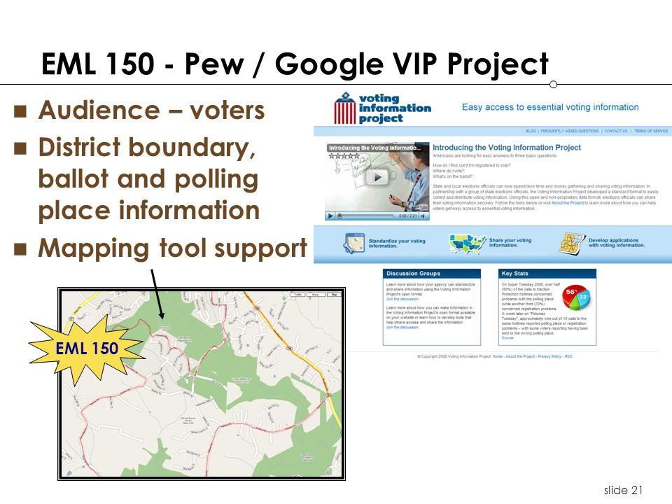 slide 21 EML 150 - Pew / Google VIP Project Audience – voters District boundary, ballot and polling place information Mapping tool support EML 150