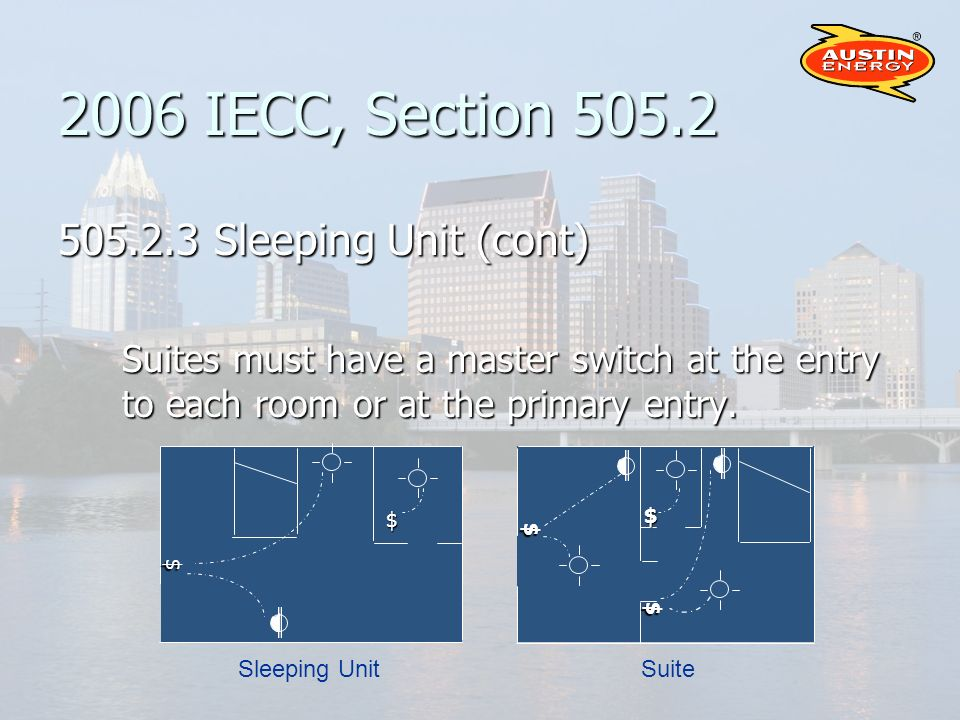 2006 IECC, Section 505.2 505.2.3 Sleeping Unit (cont) Suites must have a master switch at the entry to each room or at the primary entry.