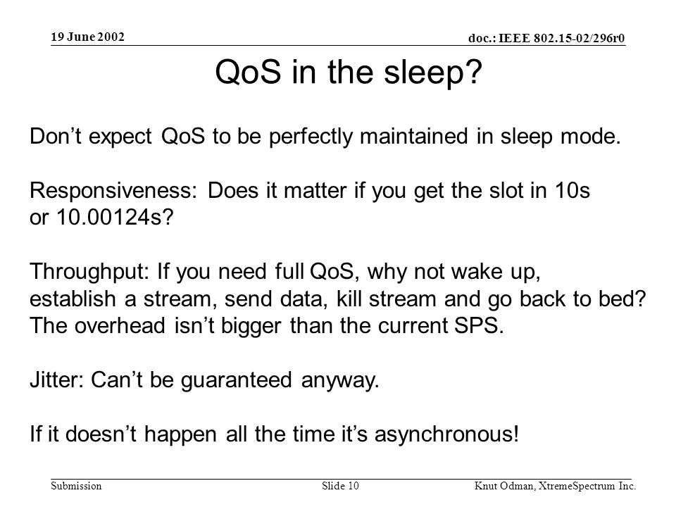 19 June 2002 doc.: IEEE 802.15-02/296r0 Knut Odman, XtremeSpectrum Inc.Slide 10Submission QoS in the sleep.