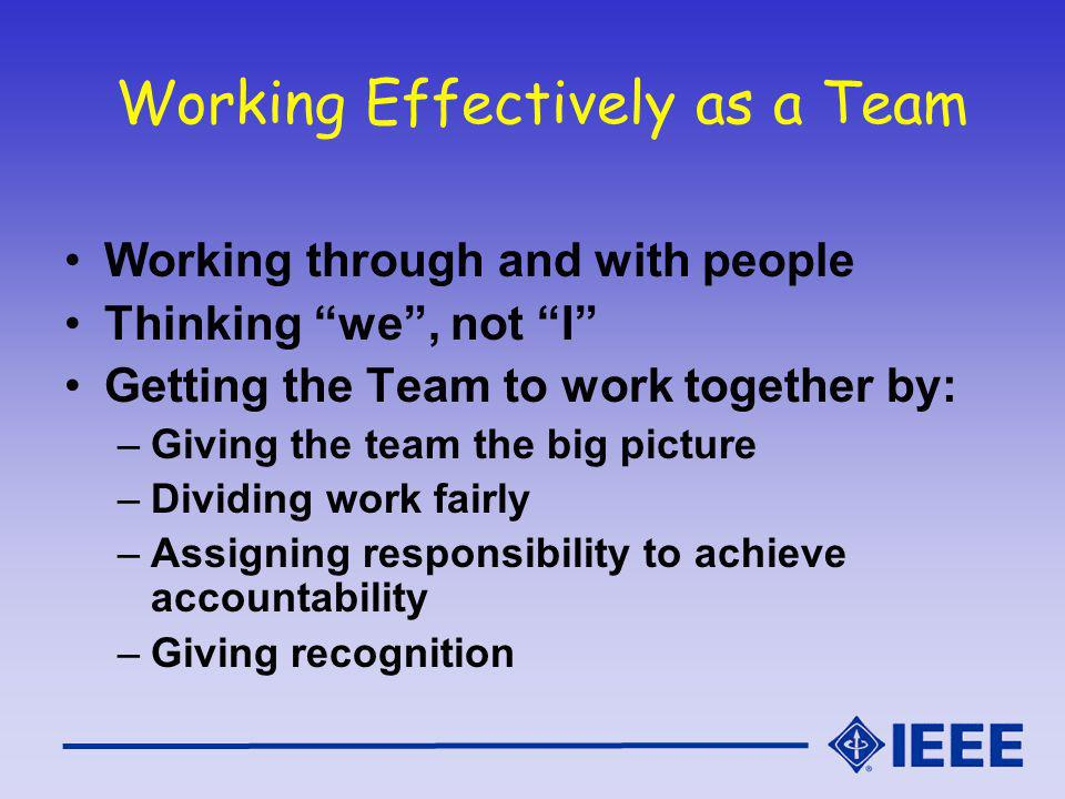 Working Effectively as a Team Working through and with people Thinking we, not I Getting the Team to work together by: –Giving the team the big picture –Dividing work fairly –Assigning responsibility to achieve accountability –Giving recognition