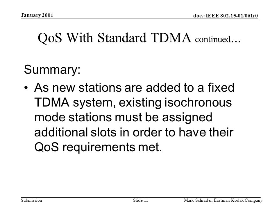 doc.: IEEE 802.15-01/061r0 Submission January 2001 Mark Schrader, Eastman Kodak CompanySlide 11 QoS With Standard TDMA continued...
