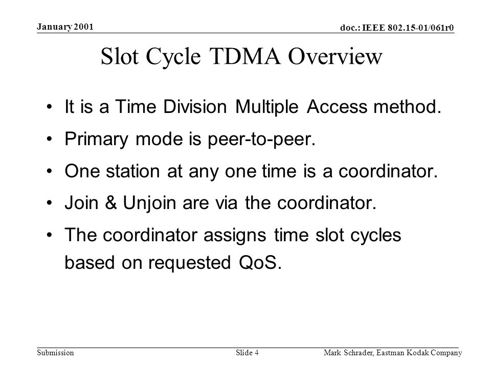 doc.: IEEE 802.15-01/061r0 Submission January 2001 Mark Schrader, Eastman Kodak CompanySlide 4 Slot Cycle TDMA Overview It is a Time Division Multiple Access method.