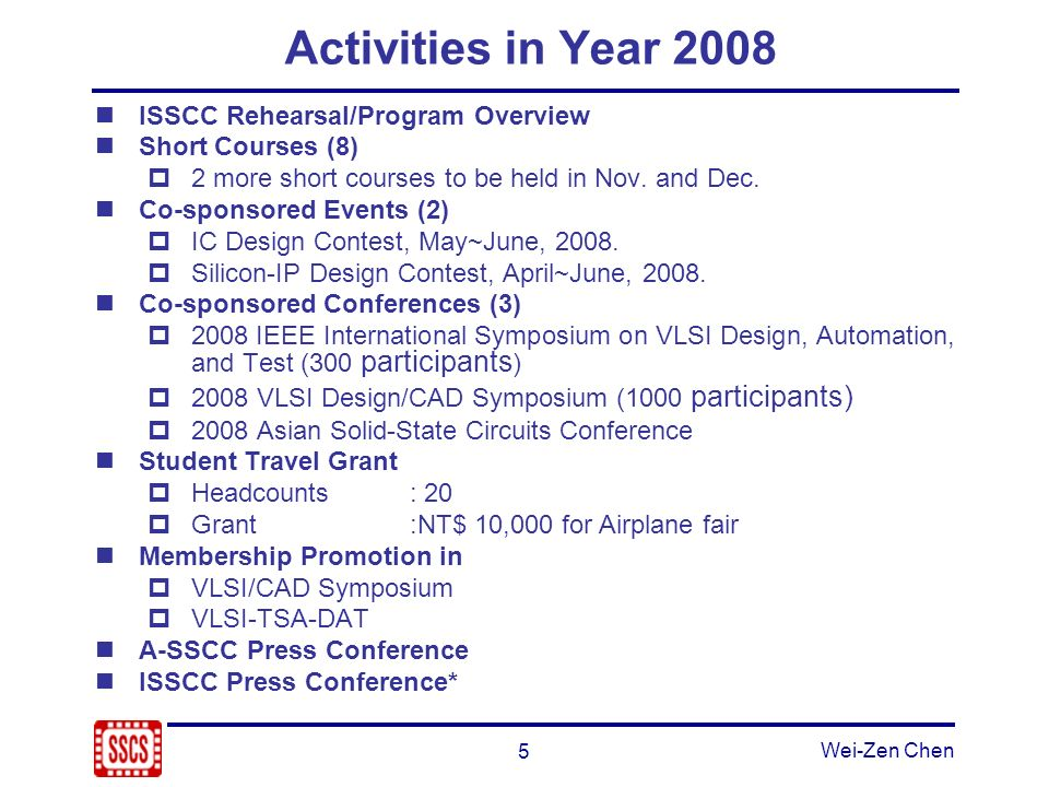 5 Wei-Zen Chen Activities in Year 2008 ISSCC Rehearsal/Program Overview Short Courses (8) 2 more short courses to be held in Nov.