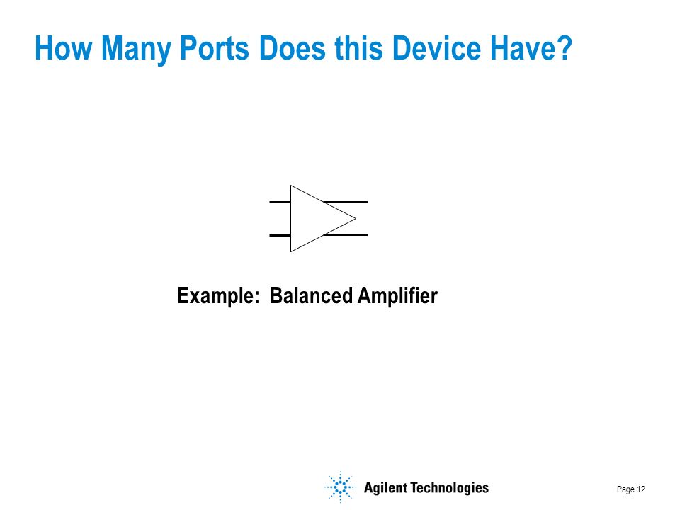 Page 12 How Many Ports Does this Device Have Example: Balanced Amplifier
