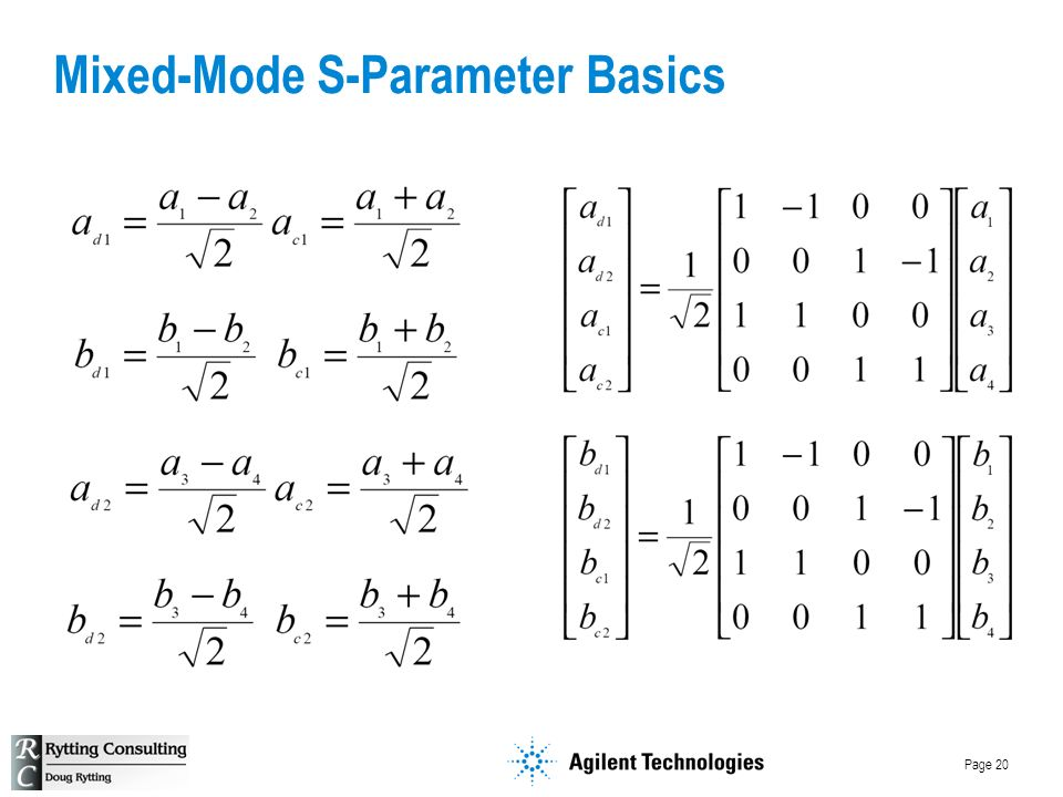 Page 20 Mixed-Mode S-Parameter Basics