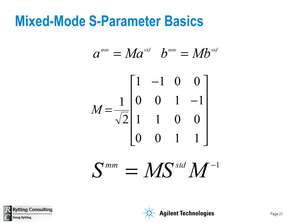 Page 21 Mixed-Mode S-Parameter Basics