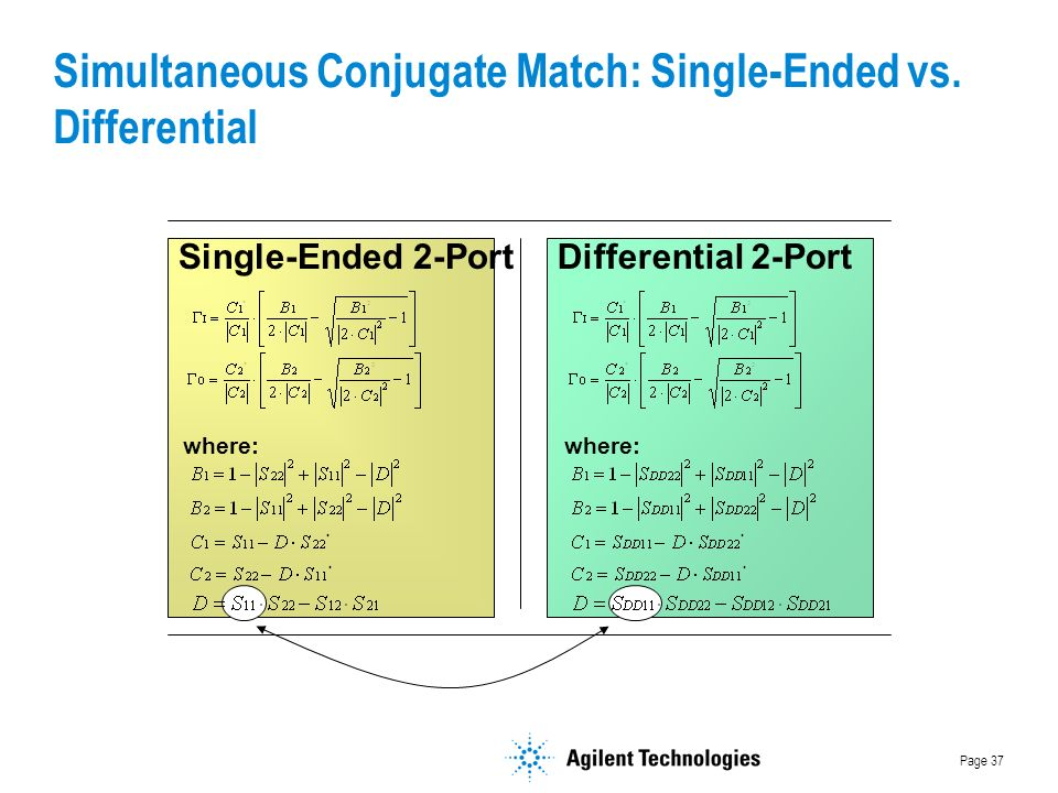 Page 37 Simultaneous Conjugate Match: Single-Ended vs.
