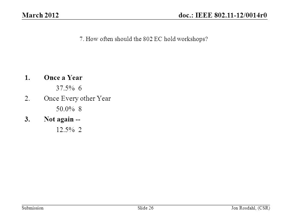 doc.: IEEE 802.11-12/0014r0 Submission March 2012 Jon Rosdahl, (CSR)Slide 26 7.