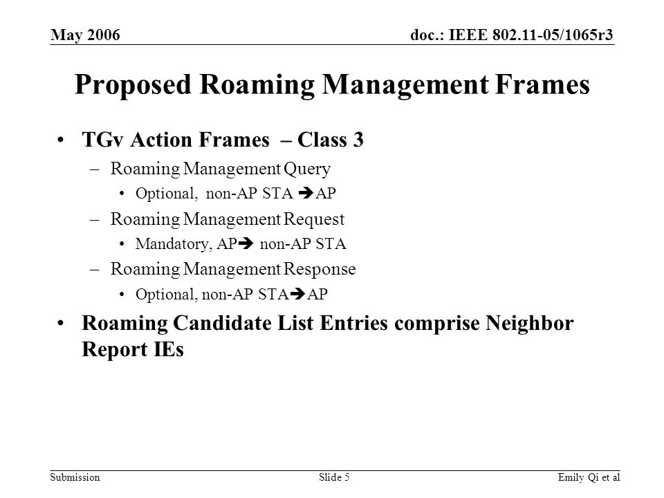 doc.: IEEE 802.11-05/1065r3 Submission May 2006 Emily Qi et alSlide 5 Proposed Roaming Management Frames TGv Action Frames – Class 3 –Roaming Management Query Optional, non-AP STA AP –Roaming Management Request Mandatory, AP non-AP STA –Roaming Management Response Optional, non-AP STA AP Roaming Candidate List Entries comprise Neighbor Report IEs