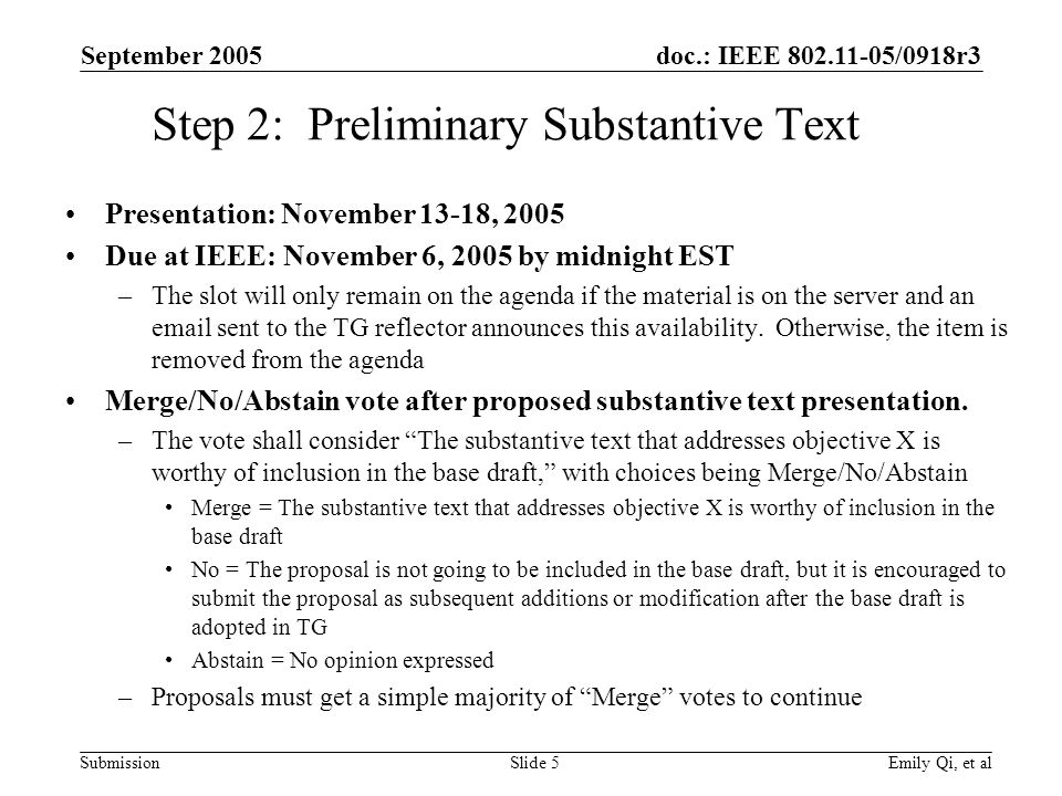 doc.: IEEE /0918r3 Submission September 2005 Emily Qi, et alSlide 5 Step 2: Preliminary Substantive Text Presentation: November 13-18, 2005 Due at IEEE: November 6, 2005 by midnight EST –The slot will only remain on the agenda if the material is on the server and an  sent to the TG reflector announces this availability.