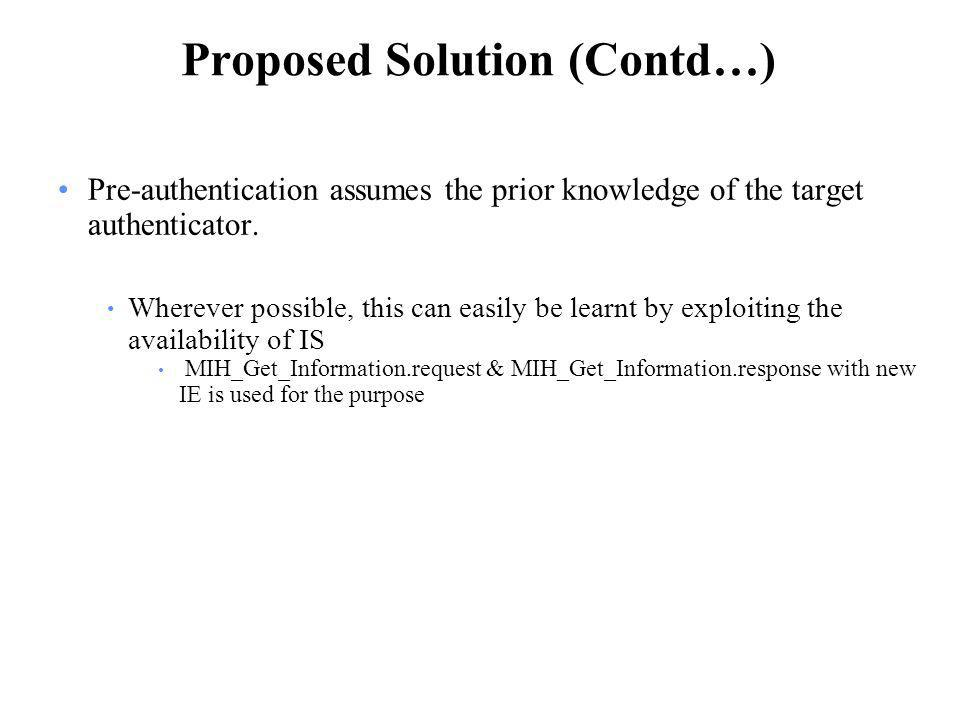 Proposed Solution (Contd…) Pre-authentication assumes the prior knowledge of the target authenticator.