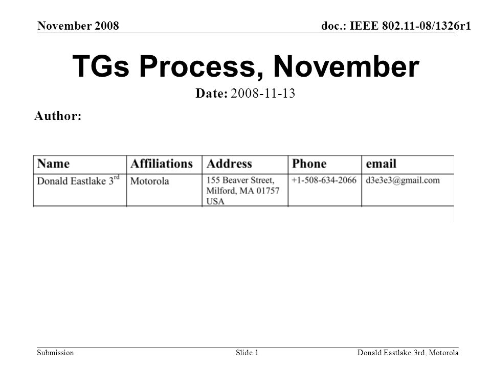 doc.: IEEE 802.11-08/1326r1 Submission November 2008 Donald Eastlake 3rd, MotorolaSlide 1 TGs Process, November Date: 2008-11-13 Author: