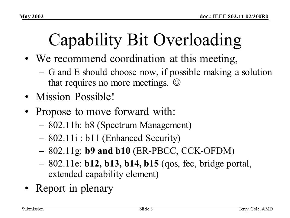 doc.: IEEE 802.11-02/300R0 Submission May 2002 Terry Cole, AMDSlide 5 Capability Bit Overloading We recommend coordination at this meeting, –G and E should choose now, if possible making a solution that requires no more meetings.