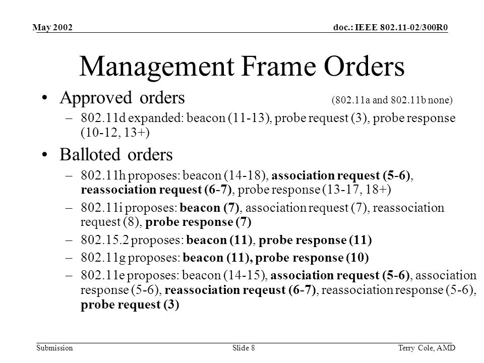 doc.: IEEE 802.11-02/300R0 Submission May 2002 Terry Cole, AMDSlide 8 Management Frame Orders Approved orders (802.11a and 802.11b none) –802.11d expanded: beacon (11-13), probe request (3), probe response (10-12, 13+) Balloted orders –802.11h proposes: beacon (14-18), association request (5-6), reassociation request (6-7), probe response (13-17, 18+) –802.11i proposes: beacon (7), association request (7), reassociation request (8), probe response (7) –802.15.2 proposes: beacon (11), probe response (11) –802.11g proposes: beacon (11), probe response (10) –802.11e proposes: beacon (14-15), association request (5-6), association response (5-6), reassociation reqeust (6-7), reassociation response (5-6), probe request (3)