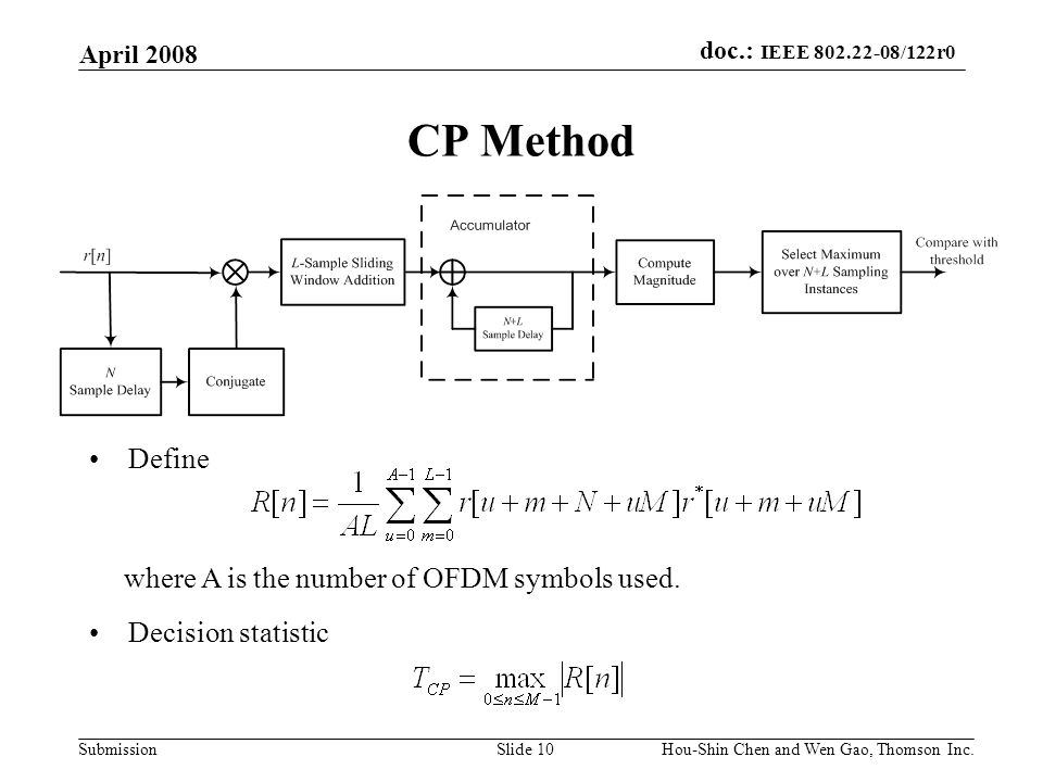 doc.: IEEE 802.22-08/122r0 Submission April 2008 Hou-Shin Chen and Wen Gao, Thomson Inc.Slide 10 CP Method Define where A is the number of OFDM symbols used.