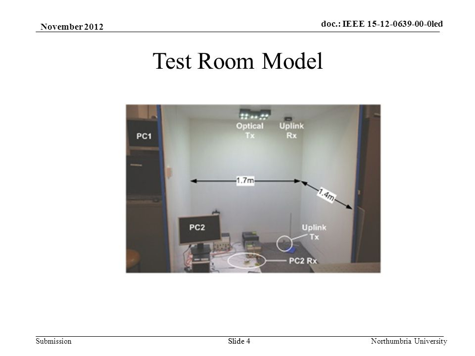 SubmissionNorthumbria UniversitySlide 4 Test Room Model doc.: IEEE 15-12-0639-00-0led November 2012