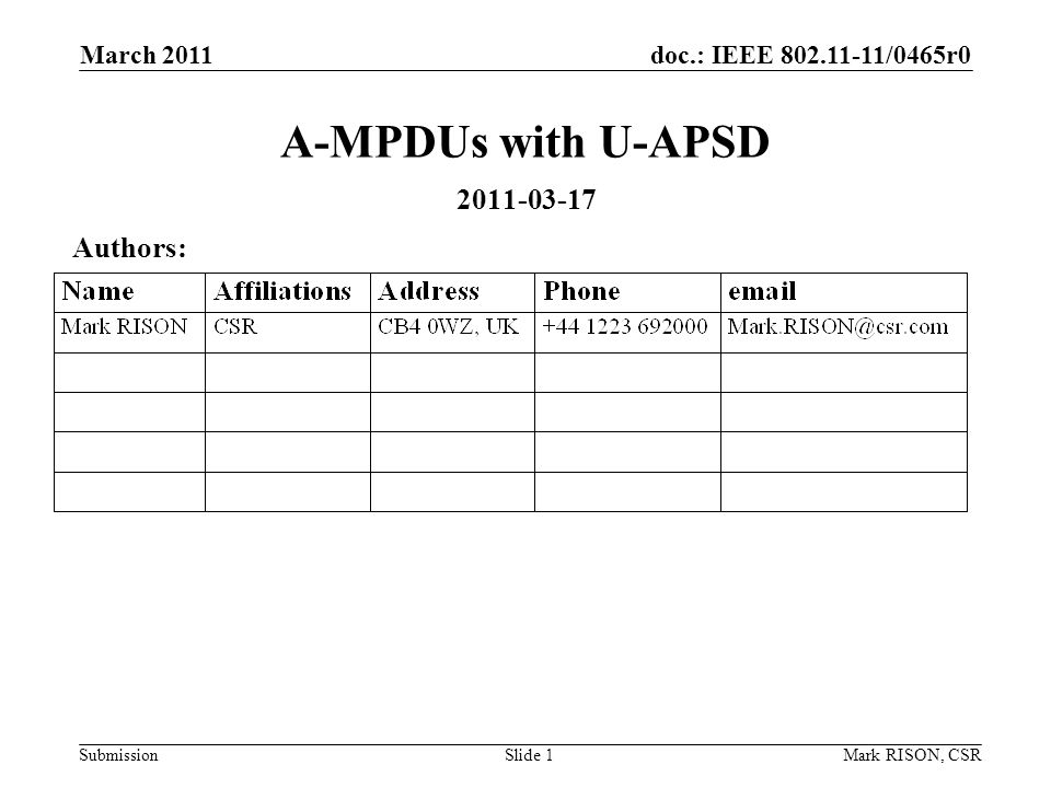 doc.: IEEE /0465r0 Submission March 2011 Mark RISON, CSRSlide 1 A-MPDUs with U-APSD Authors: