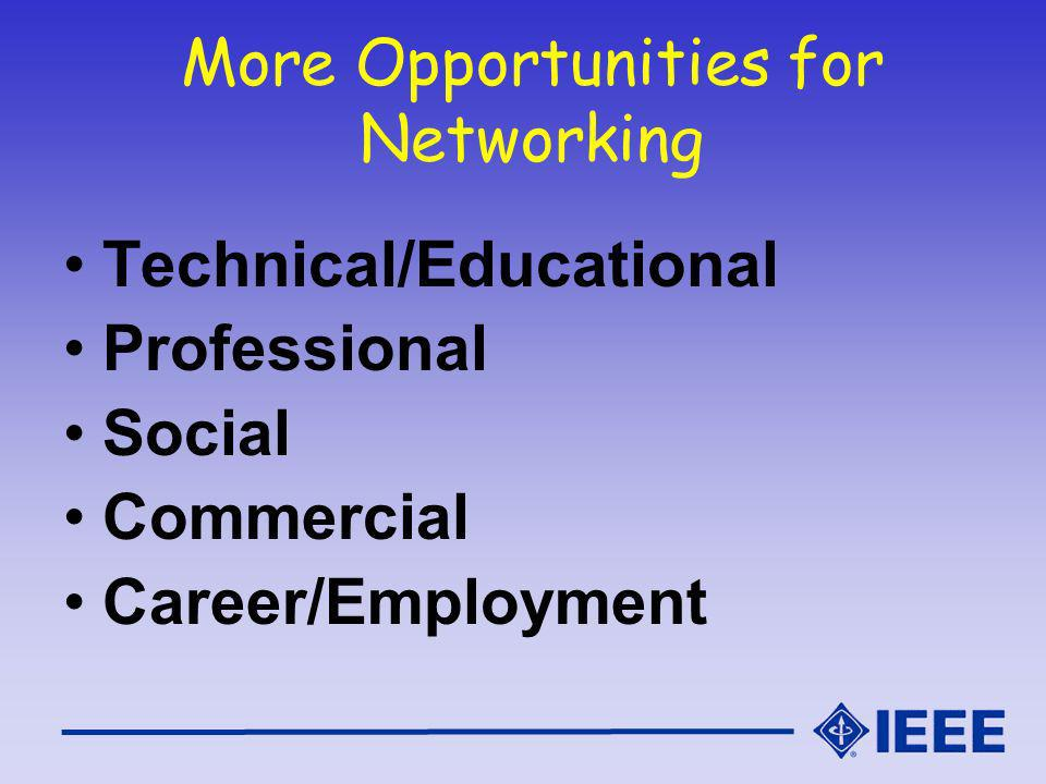 More Opportunities for Networking Technical/Educational Professional Social Commercial Career/Employment