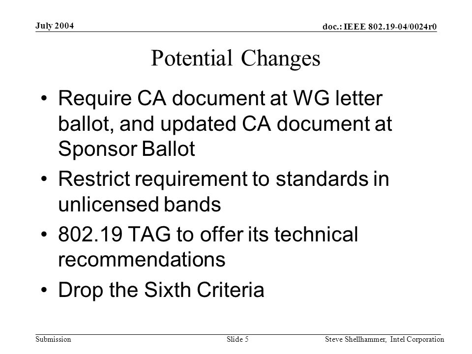 doc.: IEEE /0024r0 Submission July 2004 Steve Shellhammer, Intel CorporationSlide 5 Potential Changes Require CA document at WG letter ballot, and updated CA document at Sponsor Ballot Restrict requirement to standards in unlicensed bands TAG to offer its technical recommendations Drop the Sixth Criteria