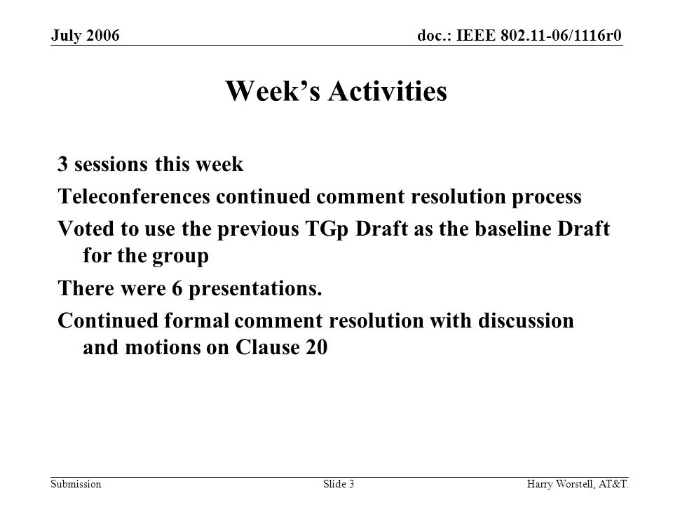 doc.: IEEE /1116r0 Submission July 2006 Harry Worstell, AT&T.Slide 3 Weeks Activities 3 sessions this week Teleconferences continued comment resolution process Voted to use the previous TGp Draft as the baseline Draft for the group There were 6 presentations.
