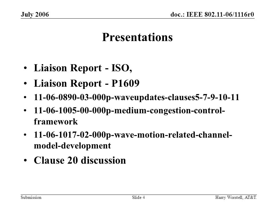 doc.: IEEE /1116r0 Submission July 2006 Harry Worstell, AT&T.Slide 4 Presentations Liaison Report - ISO, Liaison Report - P p-waveupdates-clauses p-medium-congestion-control- framework p-wave-motion-related-channel- model-development Clause 20 discussion