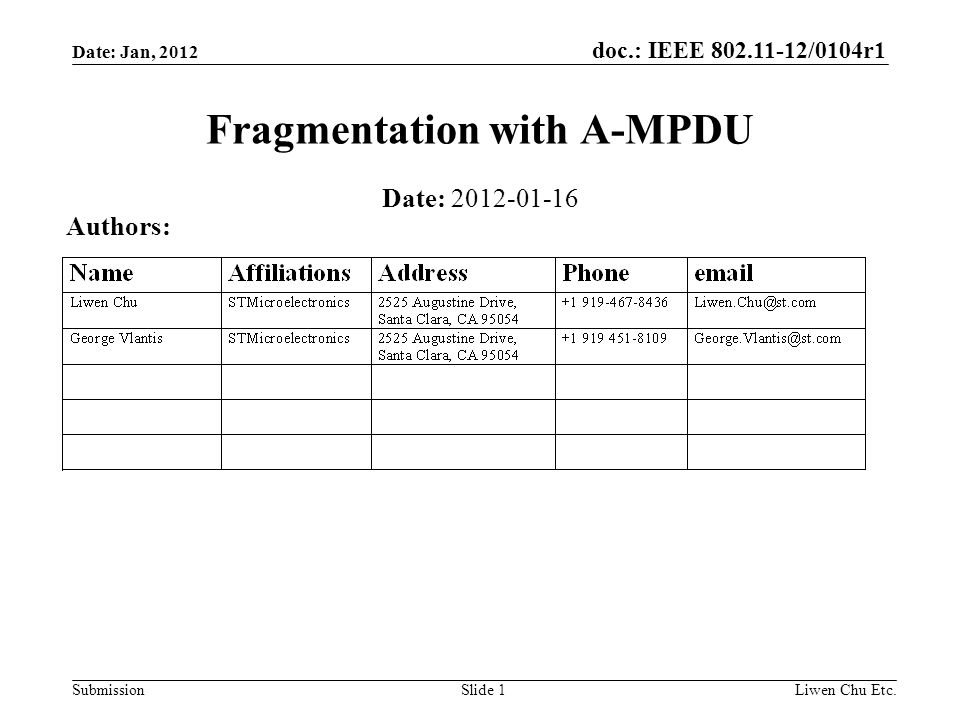 doc.: IEEE 802.11-12/0104r1 SubmissionLiwen Chu Etc.Slide 1 Fragmentation with A-MPDU Date: 2012-01-16 Authors: Date: Jan, 2012