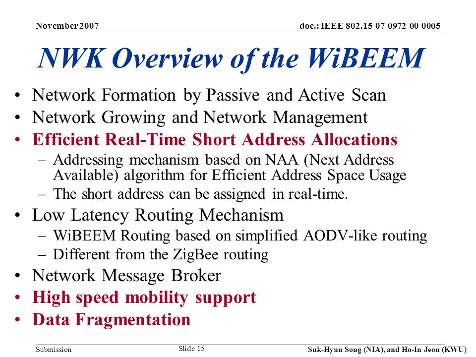 doc.: IEEE 802.15-07-0972-00-0005 Submission November 2007 Suk-Hyun Song (NIA), and Ho-In Jeon (KWU) Slide 15 NWK Overview of the WiBEEM Network Formation by Passive and Active Scan Network Growing and Network Management Efficient Real-Time Short Address Allocations –Addressing mechanism based on NAA (Next Address Available) algorithm for Efficient Address Space Usage –The short address can be assigned in real-time.