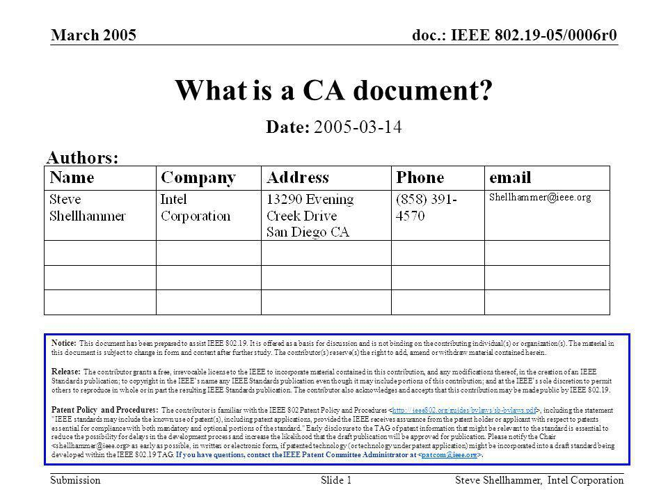doc.: IEEE /0006r0 Submission March 2005 Steve Shellhammer, Intel CorporationSlide 1 What is a CA document.
