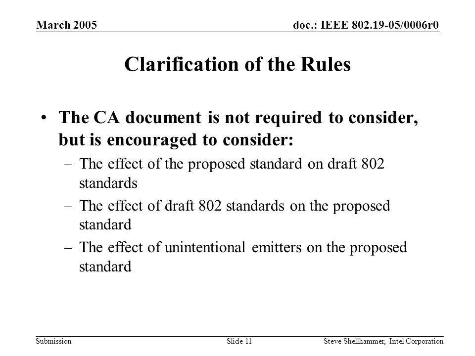 doc.: IEEE /0006r0 Submission March 2005 Steve Shellhammer, Intel CorporationSlide 11 Clarification of the Rules The CA document is not required to consider, but is encouraged to consider: –The effect of the proposed standard on draft 802 standards –The effect of draft 802 standards on the proposed standard –The effect of unintentional emitters on the proposed standard