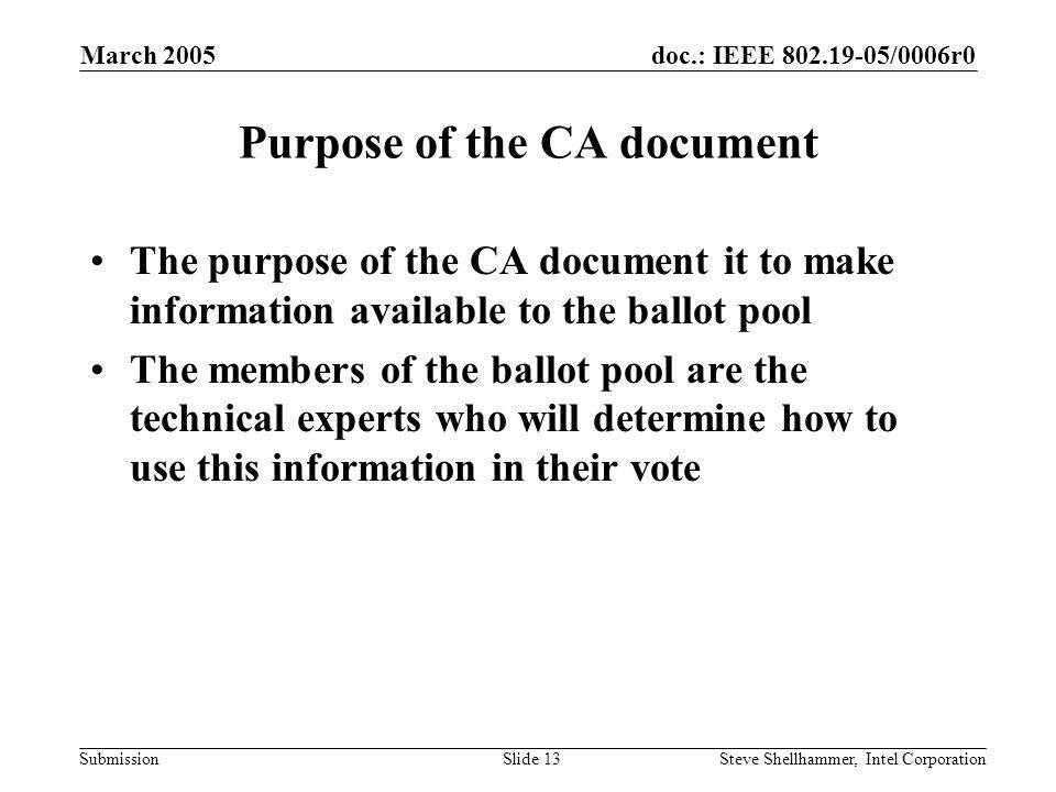 doc.: IEEE /0006r0 Submission March 2005 Steve Shellhammer, Intel CorporationSlide 13 Purpose of the CA document The purpose of the CA document it to make information available to the ballot pool The members of the ballot pool are the technical experts who will determine how to use this information in their vote