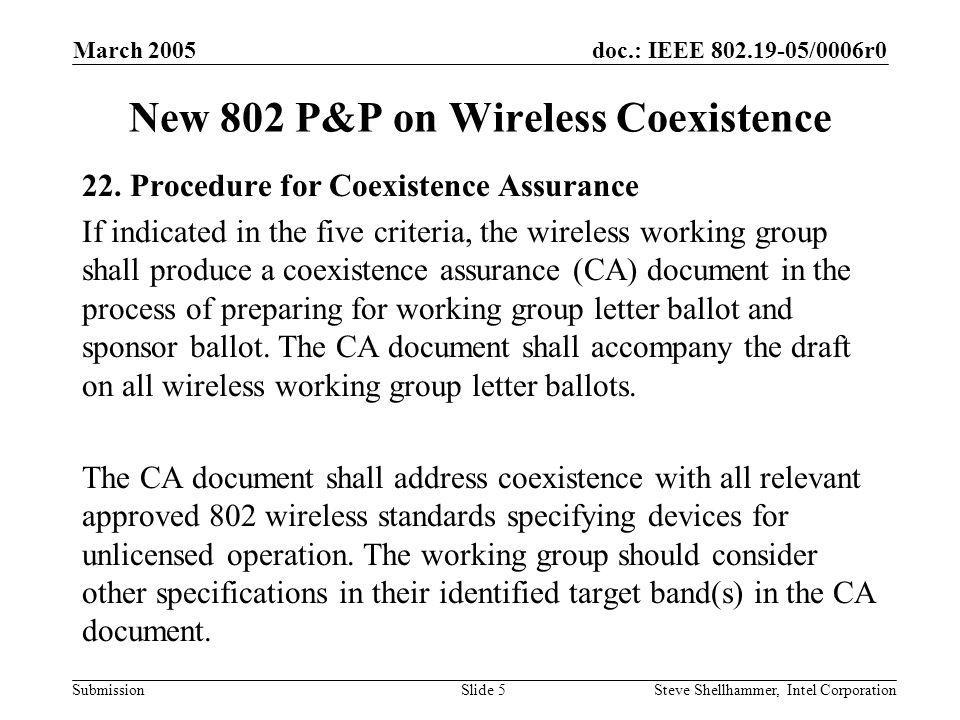 doc.: IEEE /0006r0 Submission March 2005 Steve Shellhammer, Intel CorporationSlide 5 New 802 P&P on Wireless Coexistence 22.