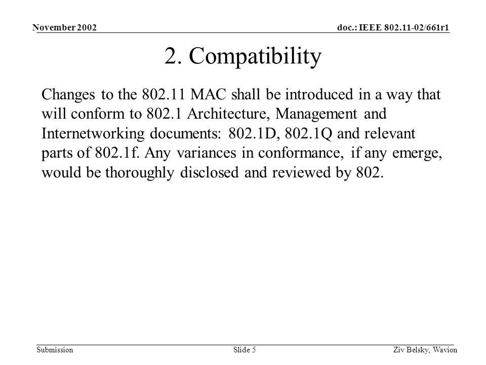 doc.: IEEE 802.11-02/661r1 Submission November 2002 Ziv Belsky, WavionSlide 5 2.