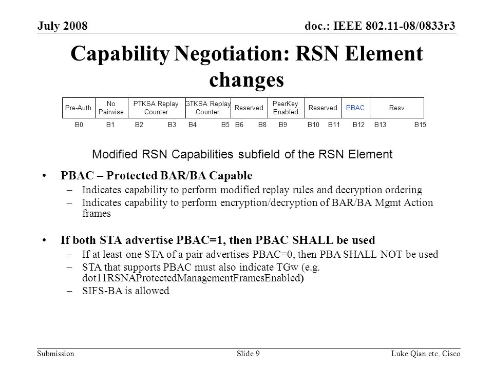 doc.: IEEE /0833r3 Submission July 2008 Luke Qian etc, CiscoSlide 9 Capability Negotiation: RSN Element changes PBAC – Protected BAR/BA Capable –Indicates capability to perform modified replay rules and decryption ordering –Indicates capability to perform encryption/decryption of BAR/BA Mgmt Action frames If both STA advertise PBAC=1, then PBAC SHALL be used –If at least one STA of a pair advertises PBAC=0, then PBA SHALL NOT be used –STA that supports PBAC must also indicate TGw (e.g.