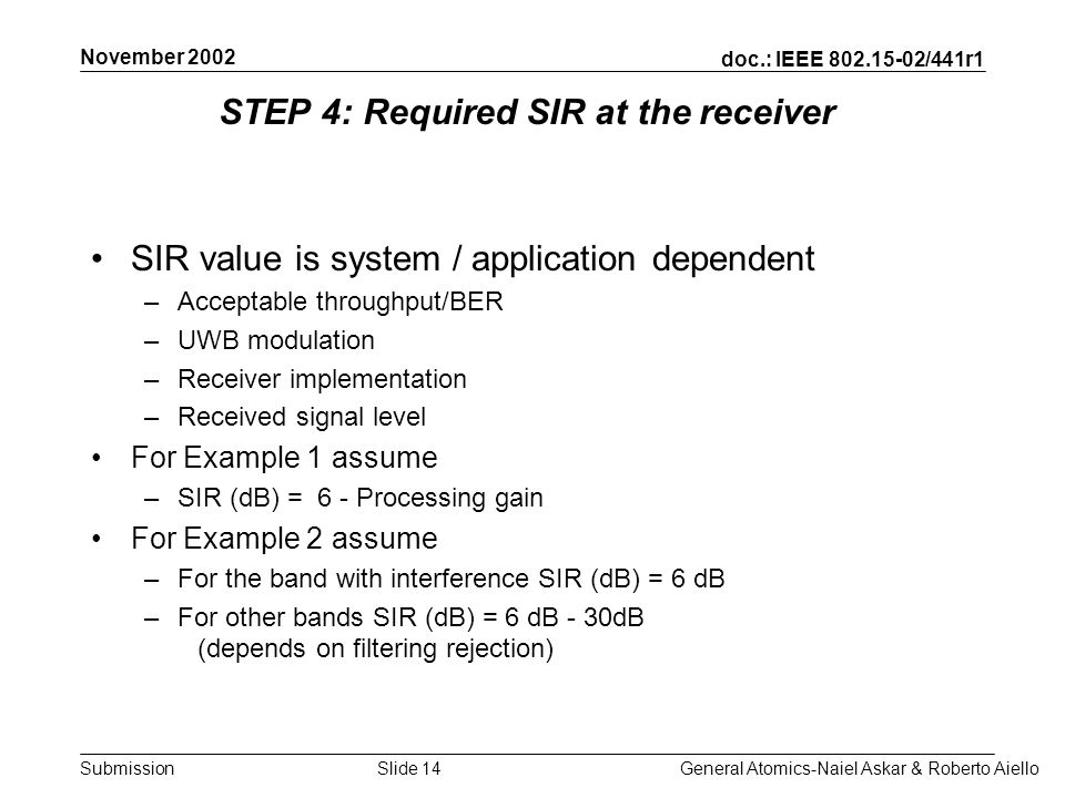 doc.: IEEE /441r1 Submission November 2002 General Atomics-Naiel Askar & Roberto AielloSlide 14 STEP 4: Required SIR at the receiver SIR value is system / application dependent –Acceptable throughput/BER –UWB modulation –Receiver implementation –Received signal level For Example 1 assume –SIR (dB) = 6 - Processing gain For Example 2 assume –For the band with interference SIR (dB) = 6 dB –For other bands SIR (dB) = 6 dB - 30dB (depends on filtering rejection)