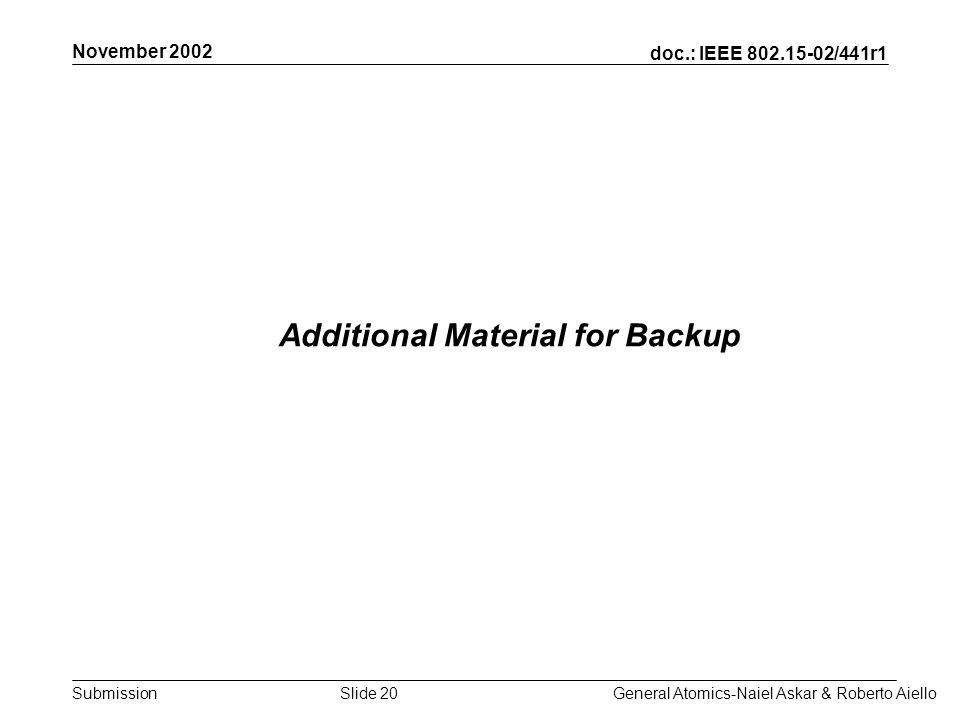 doc.: IEEE /441r1 Submission November 2002 General Atomics-Naiel Askar & Roberto AielloSlide 20 Additional Material for Backup