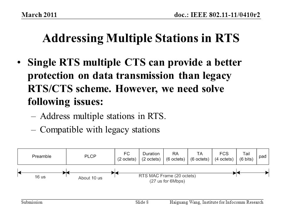 doc.: IEEE /0410r2 Submission March 2011 Slide 8 Addressing Multiple Stations in RTS Haiguang Wang, Institute for Infocomm Research Single RTS multiple CTS can provide a better protection on data transmission than legacy RTS/CTS scheme.