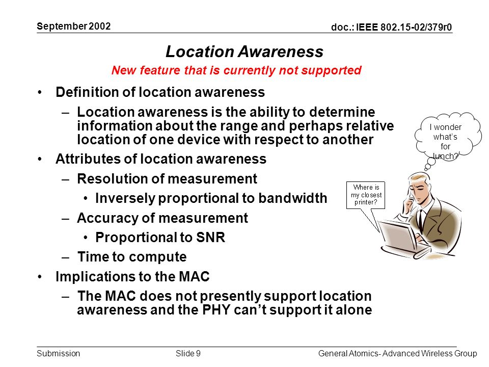 doc.: IEEE /379r0 Submission September 2002 General Atomics- Advanced Wireless GroupSlide 9 Location Awareness Definition of location awareness –Location awareness is the ability to determine information about the range and perhaps relative location of one device with respect to another Attributes of location awareness –Resolution of measurement Inversely proportional to bandwidth –Accuracy of measurement Proportional to SNR –Time to compute Implications to the MAC –The MAC does not presently support location awareness and the PHY cant support it alone New feature that is currently not supported I wonder whats for lunch