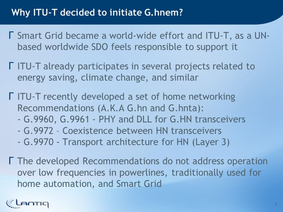Why ITU-T decided to initiate G.hnem.