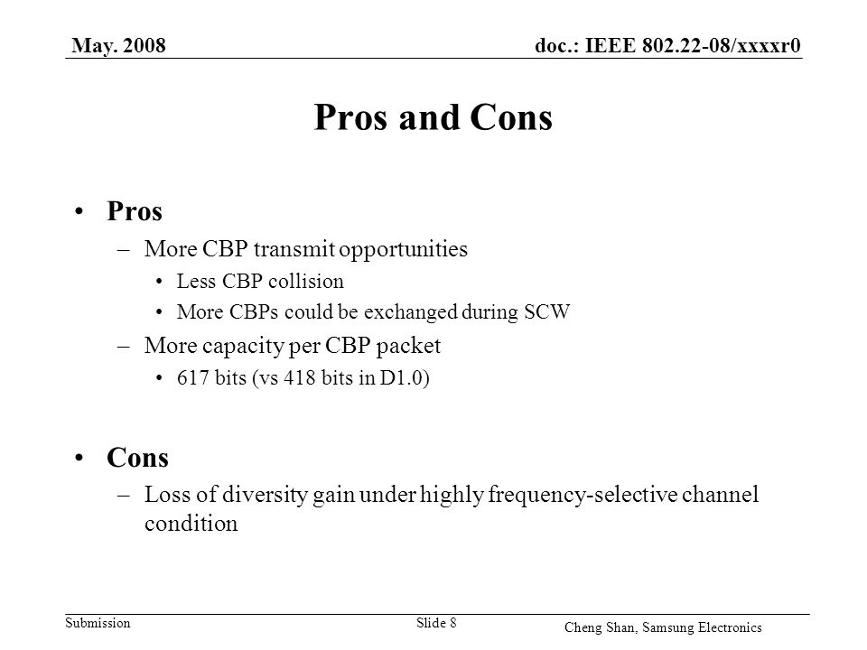 doc.: IEEE 802.22-08/xxxxr0 Submission Pros and Cons Pros –More CBP transmit opportunities Less CBP collision More CBPs could be exchanged during SCW –More capacity per CBP packet 617 bits (vs 418 bits in D1.0) Cons –Loss of diversity gain under highly frequency-selective channel condition May.