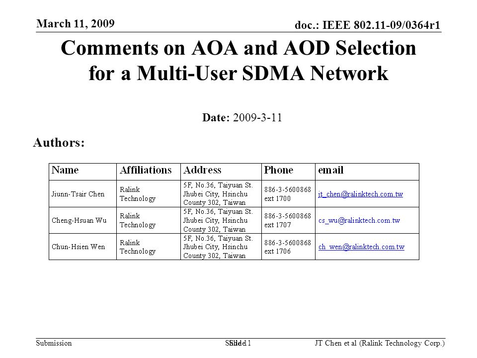 doc.: IEEE 802.11-09/0364r1 Submission March 11, 2009 JT Chen et al (Ralink Technology Corp.) Slide 1 Comments on AOA and AOD Selection for a Multi-User SDMA Network Date: 2009-3-11 Authors: