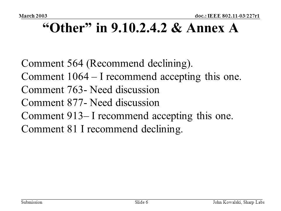 doc.: IEEE 802.11-03/227r1 Submission March 2003 John Kowalski, Sharp LabsSlide 6 Other in 9.10.2.4.2 & Annex A Comment 564 (Recommend declining).