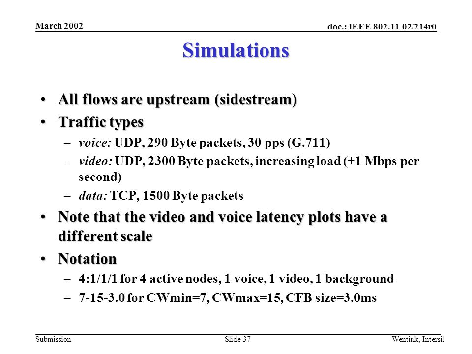 doc.: IEEE 802.11-02/214r0 Submission March 2002 Wentink, IntersilSlide 37 Simulations All flows are upstream (sidestream)All flows are upstream (sidestream) Traffic typesTraffic types –voice: UDP, 290 Byte packets, 30 pps (G.711) –video: UDP, 2300 Byte packets, increasing load (+1 Mbps per second) –data: TCP, 1500 Byte packets Note that the video and voice latency plots have a different scaleNote that the video and voice latency plots have a different scale NotationNotation –4:1/1/1 for 4 active nodes, 1 voice, 1 video, 1 background –7-15-3.0 for CWmin=7, CWmax=15, CFB size=3.0ms