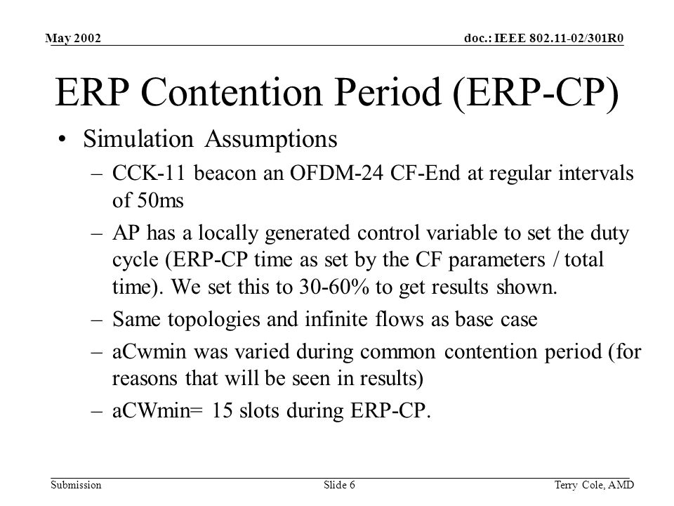 doc.: IEEE /301R0 Submission May 2002 Terry Cole, AMDSlide 6 ERP Contention Period (ERP-CP) Simulation Assumptions –CCK-11 beacon an OFDM-24 CF-End at regular intervals of 50ms –AP has a locally generated control variable to set the duty cycle (ERP-CP time as set by the CF parameters / total time).