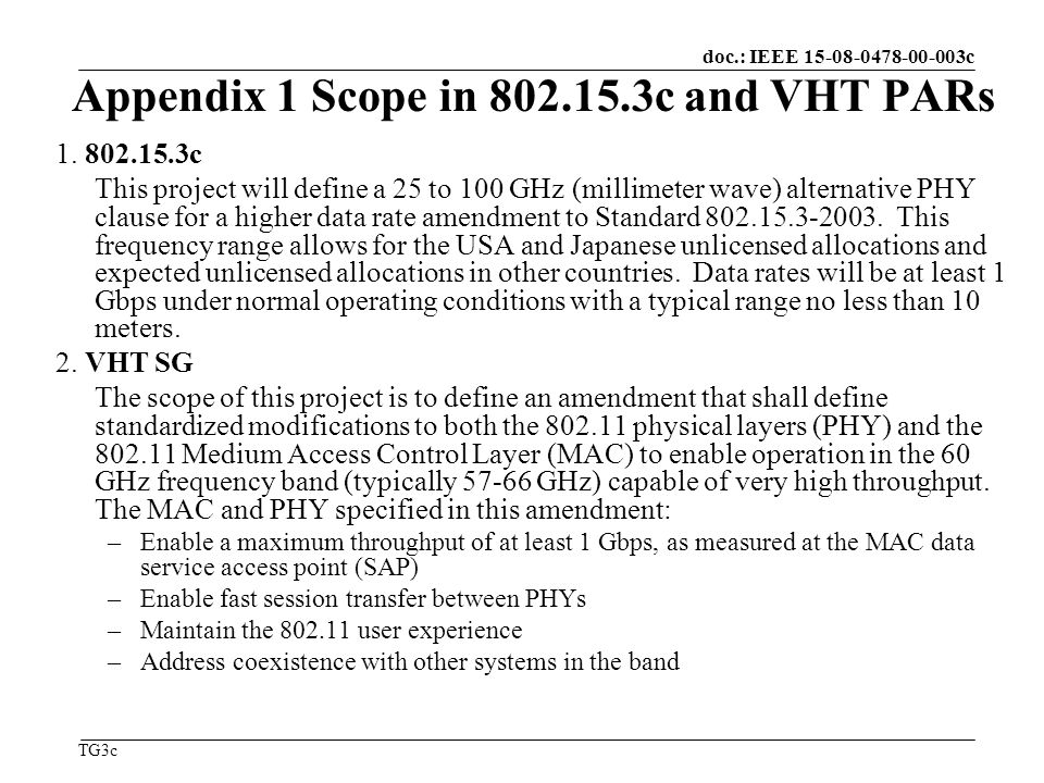 doc.: IEEE c TG3c Appendix 1 Scope in c and VHT PARs 1.