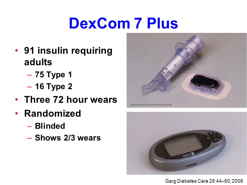 DexCom 7 Plus 91 insulin requiring adults –75 Type 1 –16 Type 2 Three 72 hour wears Randomized –Blinded –Shows 2/3 wears Garg Diabetes Care 29:44–50, 2006