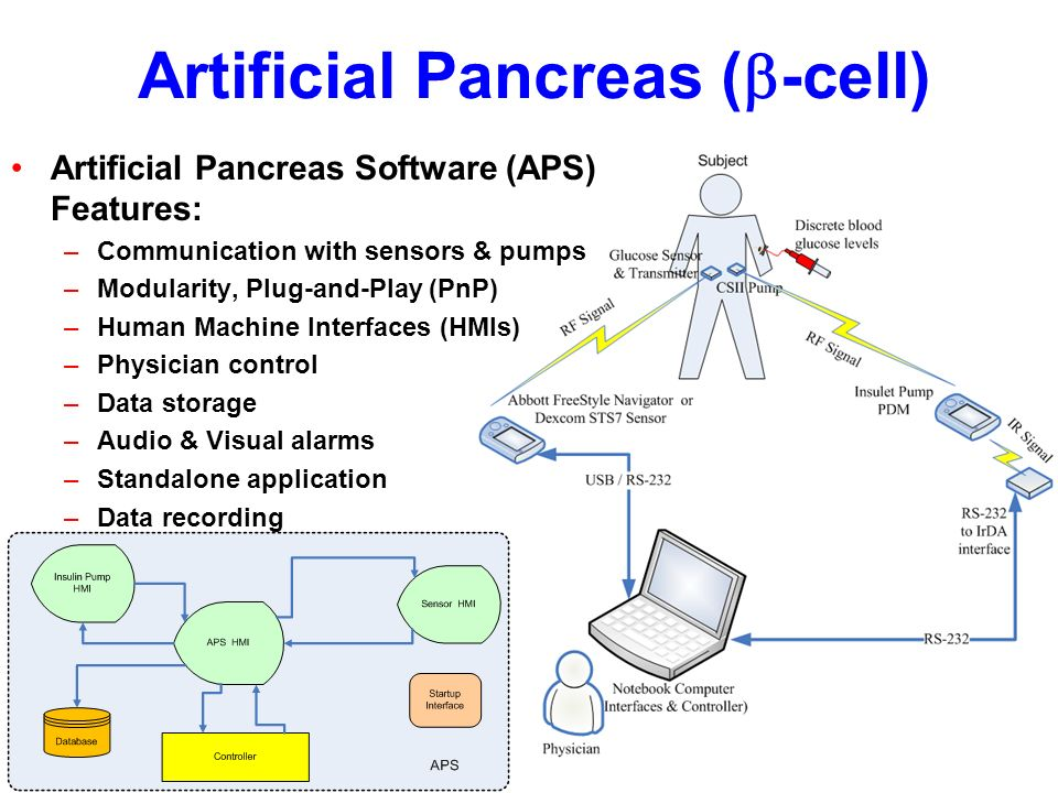 Artificial Pancreas ( -cell) Artificial Pancreas Software (APS) Features: –Communication with sensors & pumps –Modularity, Plug-and-Play (PnP) –Human Machine Interfaces (HMIs) –Physician control –Data storage –Audio & Visual alarms –Standalone application –Data recording –Safety and redundancy
